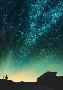 The start of the poster. The silhouette of a bus in the desert is set on a backdrop of a starry night sky.